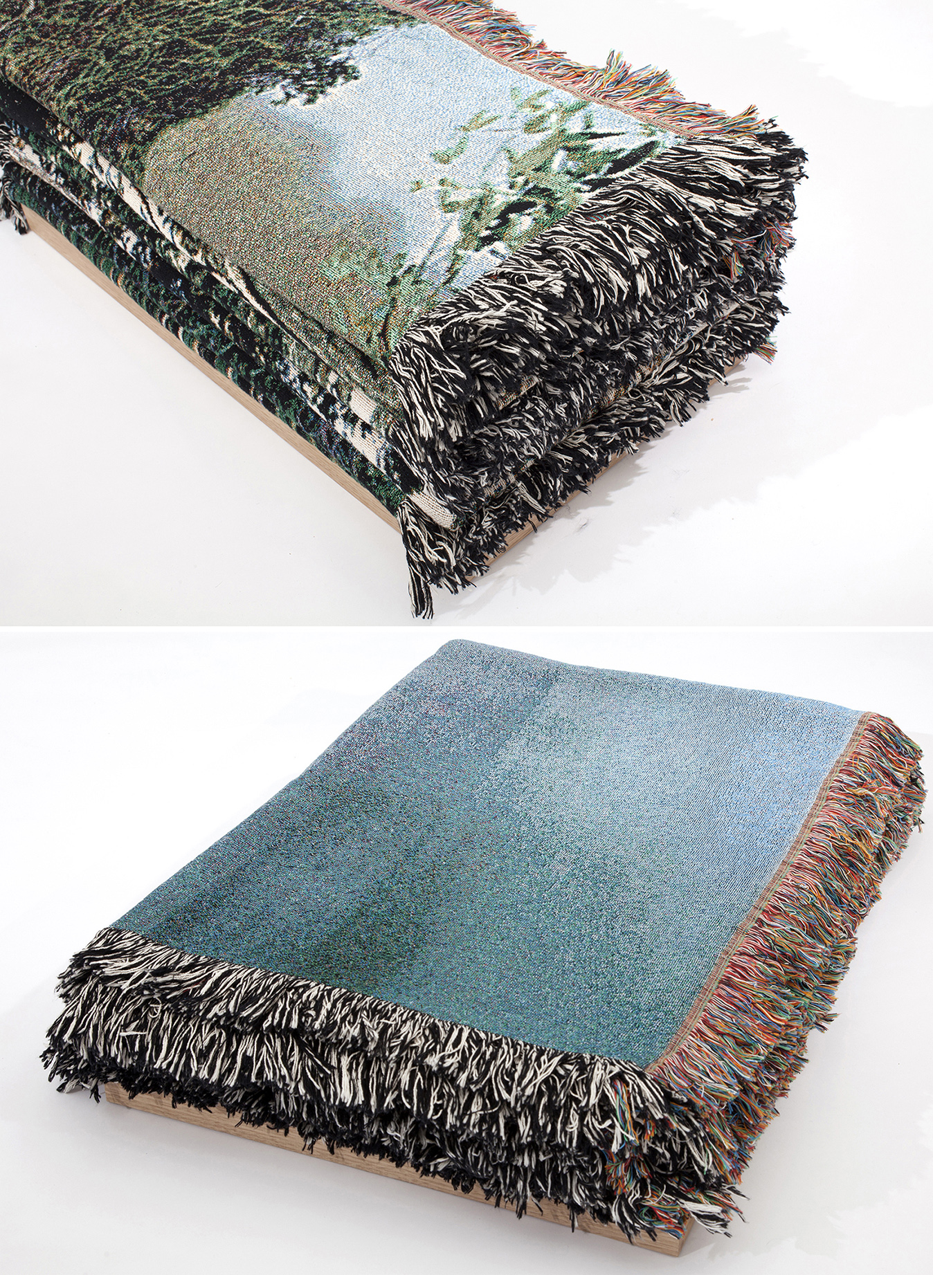 Deb Mansfield, Folded Littoral Zones, 2013, 11 photographic-digital tapestries folded into two piles, dimensions variable