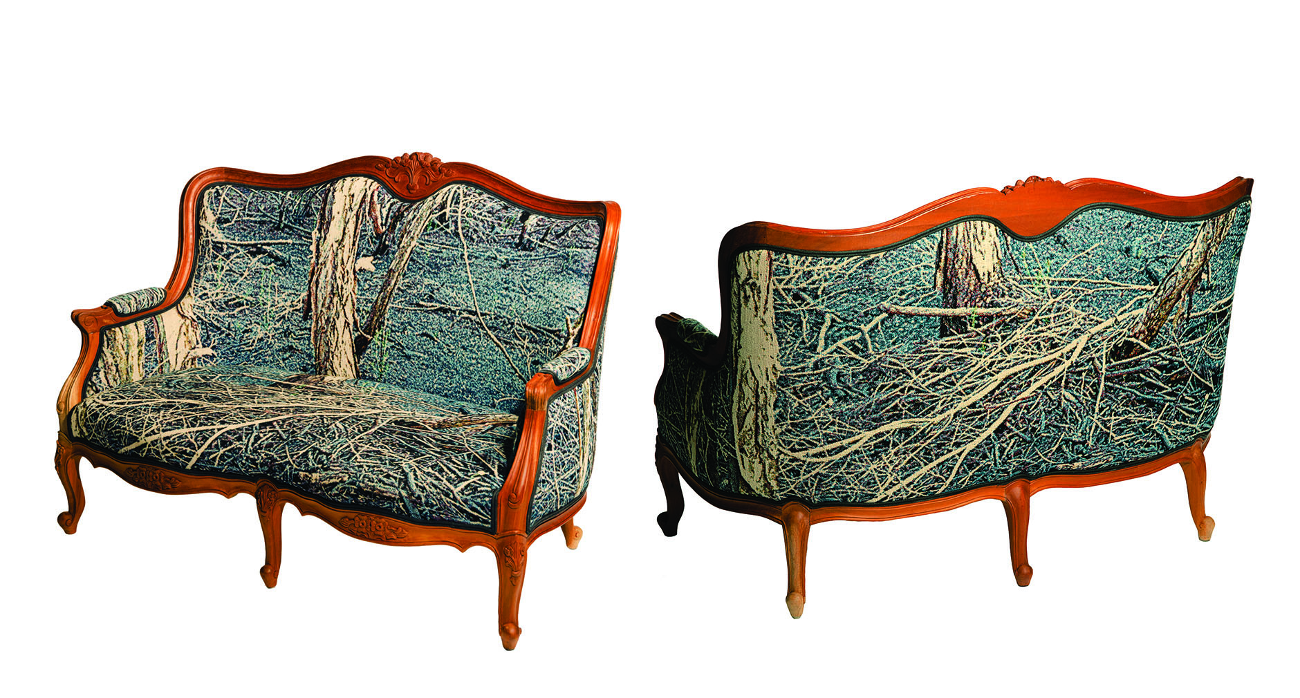 Deb Mansfield, The Armchair Traveller (two-seater), 2013, photo-tapestry upholstered into a reproduction Louis two-seater frame, 93 x 130 x 70 cm