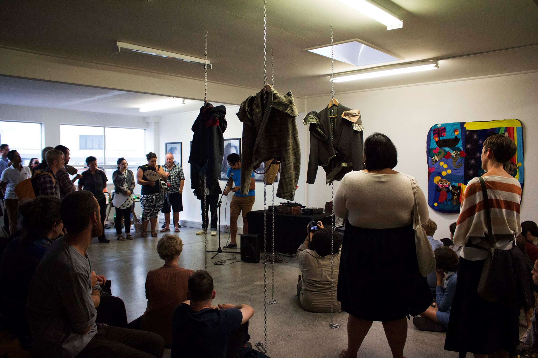 Leuli Eshraghi speaking at Queer Resistance at RM Gallery, 2015. Image courtesy Tautai Contemporary Arts Trust.