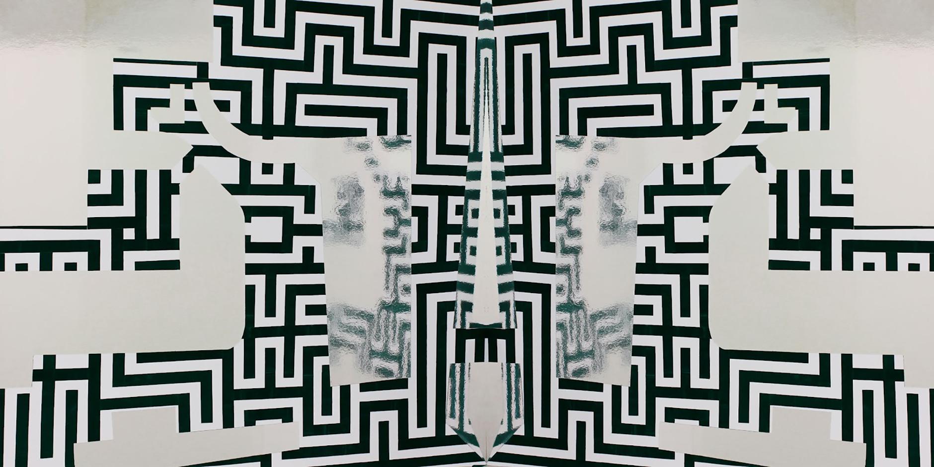 Marilyn Schneider, Level 1 Westfield, 2011, felt scratch guard and foil board, 180 x 90cm.