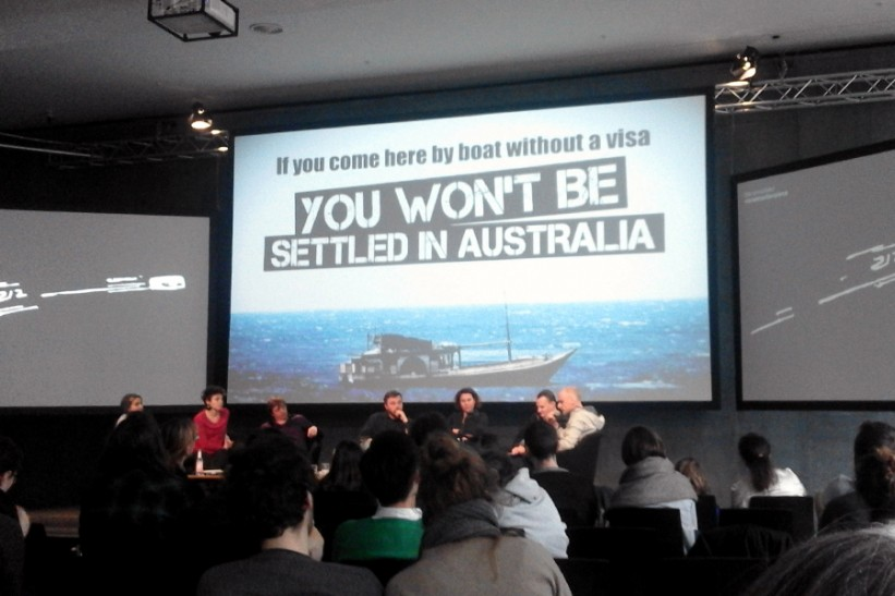 Mathias Jud and Christoph Wachter speaking on the panel 'Border Visions' at Transmediale,  Haus der Kulteren der Welt Berlin, February 2016. Credit: Author.